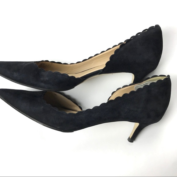 bed8b2d4d9a9 J. Crew Shoes - J.Crew Dulci scalloped black suede kitten heels